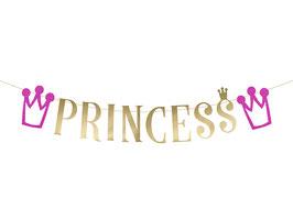 """Guirlande """"Princess"""" dorée avec couronnes fuchsias"""