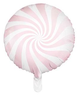 Ballon Sucre d'Orge Rond Rose Pastel en Aluminium