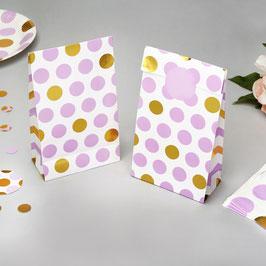 5 pochettes fond blanc pois parmes et dorés pour cadeaux
