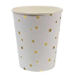 8 Gobelets étoiles dorées Meri Meri