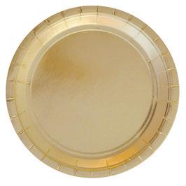 10 grandes assiettes dorées brillantes