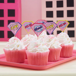 20 piques à gâteau anniversaire super héros fille