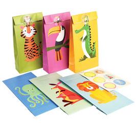 6 sacs à cadeaux invités animaux de la jungle