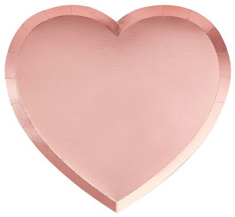 8 Grandes Assiettes Coeurs Rose Gold