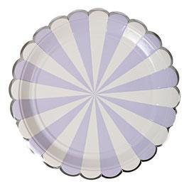 8 grandes assiettes en carton rayures lavande et blanc meri meri