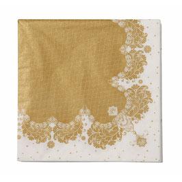 20 serviettes avec dessin dentelle blanc et mordoré