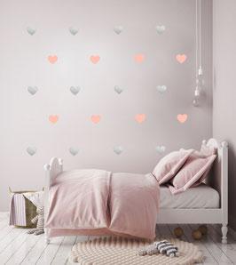Stickers muraux coeur roses et argent Pom le bonhomme