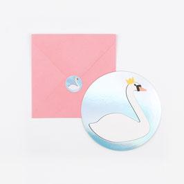 8 invitations irisées argent avec cygne, enveloppe rose et stickers