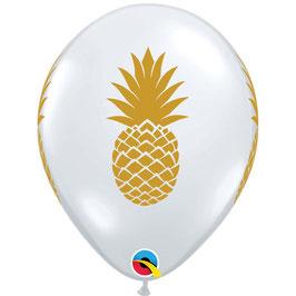 5 ballons transparents avec ananas imprimé jaune moutarde