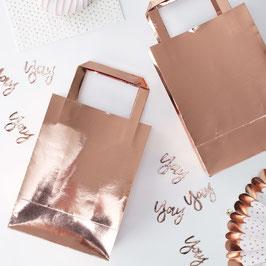 5 sacs à cadeaux invités rose gold