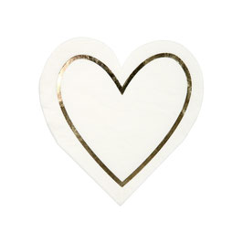 16 petites serviettes coeur ivoire et doré meri meri