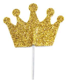 12 Piques à gateaux couronnes dorées