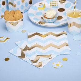 16 serviettes chevrons dorés et bleu ciel