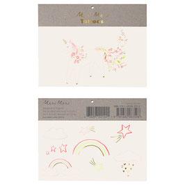 2 planches de tatouages avec licorne et arc en ciel meri meri
