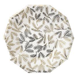 8 grandes assiettes octogonales avec feuillage doré Meri Meri