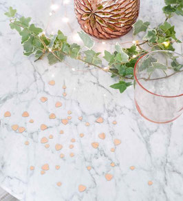 Confettis de table coeurs rose gold