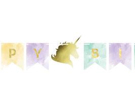 Guirlande fanions pastel licorne écriture dorée