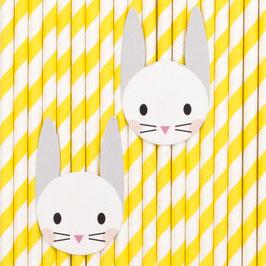 12 pailles rayées jaunes avec lapin my little day