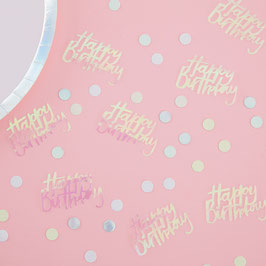 Confettis Happy Birthday irisés, pastels, irisés argent