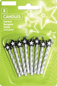 8 bougies étoiles coloris argent noir et blanc