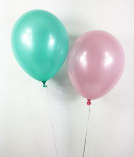 10 ballons vert menthe et rose clair métallisés nacrés en latex