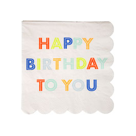 "20 petites serviettes ""Happy Birthday"" tons pastels et fluos"