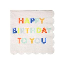 """20 petites serviettes """"Happy Birthday"""" tons pastels et fluos"""