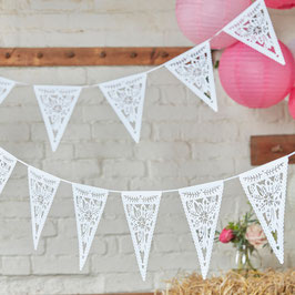 Guirlande décorative blanche drapeaux fleurs