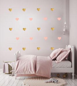 Stickers muraux coeur roses et or Pom le bonhomme