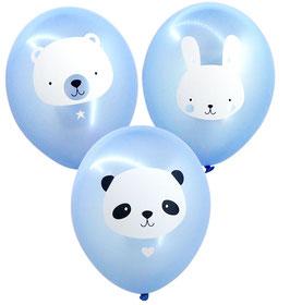 6 ballons animaux fond bleu ciel métallique A little Lovely Company