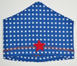 Bonnet bébé imprimé croix fond bleu Kik kid
