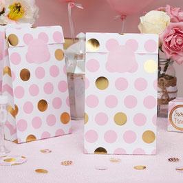 5 pochettes fond blanc pois dorés et roses pour cadeaux