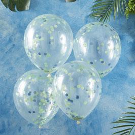 5 Ballons Transparents avec Confettis Verts et Bleus