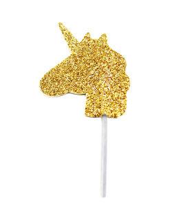 12 cake toppers tête de licorne dorées
