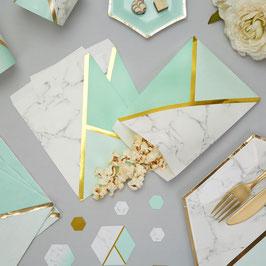 25 pochettes effet marbre, vert menthe et doré