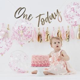 Kit décoration premier anniversaire rose et or