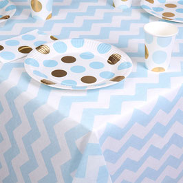Nappe en papier chevrons bleus sur fond blanc 120cmsX180cms