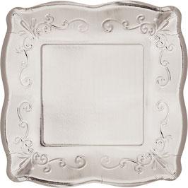 8 petites assiettes carrées dessin en relief argent