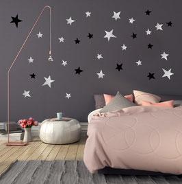 Stickers muraux étoiles noires et argent  Pom le bonhomme