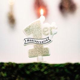 Bougie 1er Anniversaire Paillettes Or Blanc