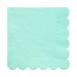 20 grandes serviettes vert menthe bordure frise meri meri