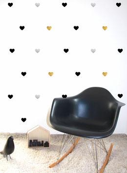 Stickers muraux coeurs noirs et argent et or Pom le bonhomme