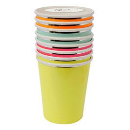 8 gobelets modèle neon Meri Meri
