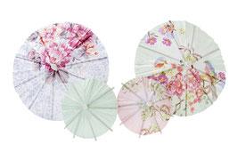 24 parasols pastels en papiers pour décoration cocktails, glaces