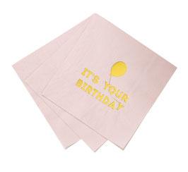 """16 grandes serviettes rose pastel avec écriture """"Happy Birthday"""" et ballon"""