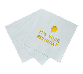"16 grandes serviettes avec écriture ""Happy Birthday"" et ballon"