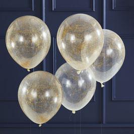 5 Ballons Transparents avec Fils d'Ange Dorés