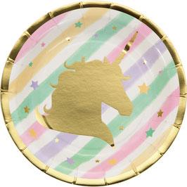 8 petites assiettes pastels avec licorne dorée