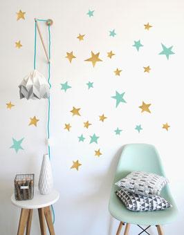 Stickers muraux étoiles vert menthe et or Pom le bonhomme