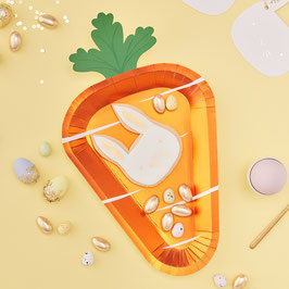 8 Grandes Assiettes en Forme de Carottes Brillantes